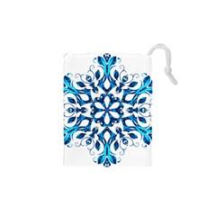 Blue Snowflake On Black Background Drawstring Pouches (xs)  by Nexatart