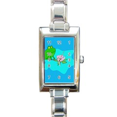 Frog Flower Lilypad Lily Pad Water Rectangle Italian Charm Watch