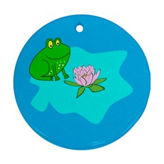Frog Flower Lilypad Lily Pad Water Ornament (round)