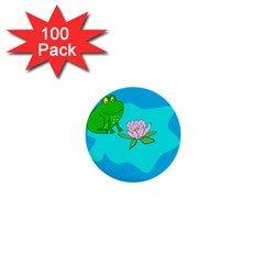 Frog Flower Lilypad Lily Pad Water 1  Mini Buttons (100 Pack)  by Nexatart