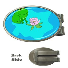 Frog Flower Lilypad Lily Pad Water Money Clips (oval)  by Nexatart