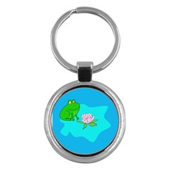 Frog Flower Lilypad Lily Pad Water Key Chains (round)  by Nexatart