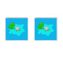 Frog Flower Lilypad Lily Pad Water Cufflinks (square) by Nexatart