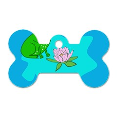 Frog Flower Lilypad Lily Pad Water Dog Tag Bone (two Sides) by Nexatart