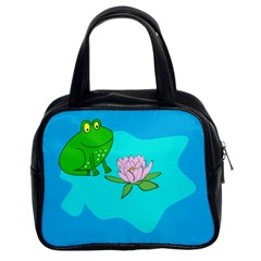 Frog Flower Lilypad Lily Pad Water Classic Handbags (2 Sides)