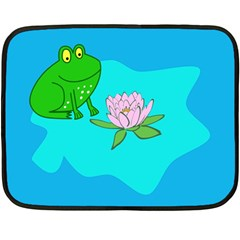 Frog Flower Lilypad Lily Pad Water Double Sided Fleece Blanket (mini)  by Nexatart
