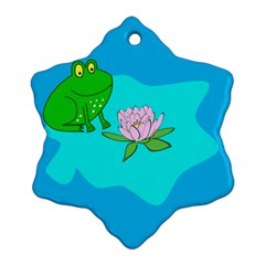 Frog Flower Lilypad Lily Pad Water Snowflake Ornament (two Sides) by Nexatart