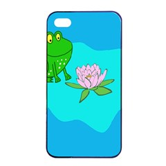 Frog Flower Lilypad Lily Pad Water Apple Iphone 4/4s Seamless Case (black) by Nexatart