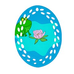 Frog Flower Lilypad Lily Pad Water Oval Filigree Ornament (two Sides) by Nexatart