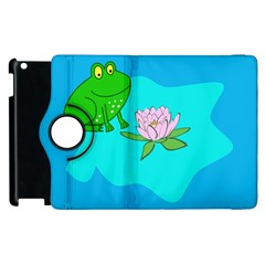 Frog Flower Lilypad Lily Pad Water Apple Ipad 3/4 Flip 360 Case by Nexatart