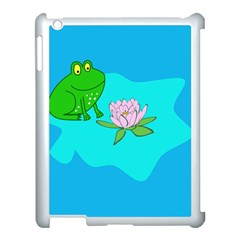 Frog Flower Lilypad Lily Pad Water Apple Ipad 3/4 Case (white) by Nexatart