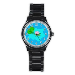Frog Flower Lilypad Lily Pad Water Stainless Steel Round Watch