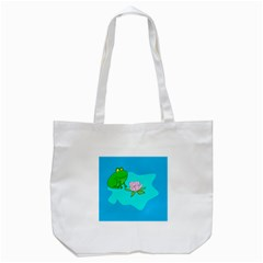 Frog Flower Lilypad Lily Pad Water Tote Bag (white)