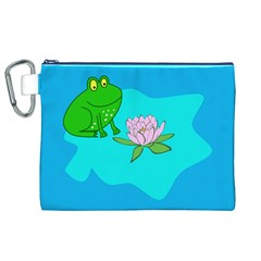 Frog Flower Lilypad Lily Pad Water Canvas Cosmetic Bag (xl) by Nexatart