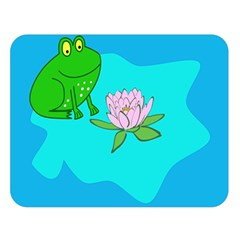 Frog Flower Lilypad Lily Pad Water Double Sided Flano Blanket (large)
