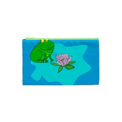 Frog Flower Lilypad Lily Pad Water Cosmetic Bag (xs)