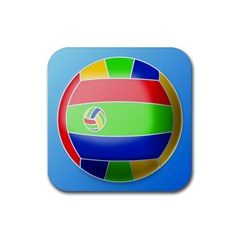 Balloon Volleyball Ball Sport Rubber Square Coaster (4 Pack)  by Nexatart