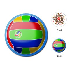 Balloon Volleyball Ball Sport Playing Cards (round)  by Nexatart