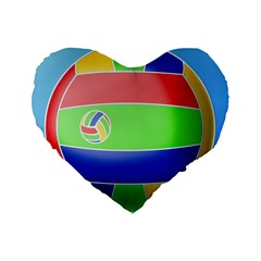 Balloon Volleyball Ball Sport Standard 16  Premium Flano Heart Shape Cushions by Nexatart
