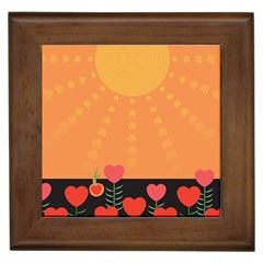 Love Heart Valentine Sun Flowers Framed Tiles