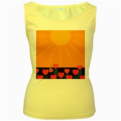 Love Heart Valentine Sun Flowers Women s Yellow Tank Top