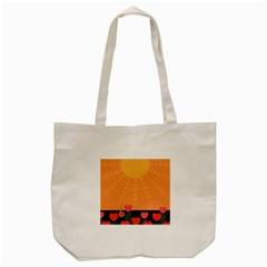 Love Heart Valentine Sun Flowers Tote Bag (cream)