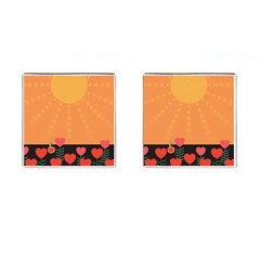 Love Heart Valentine Sun Flowers Cufflinks (square) by Nexatart