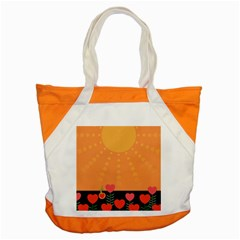 Love Heart Valentine Sun Flowers Accent Tote Bag