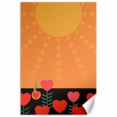 Love Heart Valentine Sun Flowers Canvas 24  X 36  by Nexatart