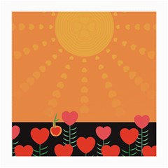 Love Heart Valentine Sun Flowers Medium Glasses Cloth (2 Side)