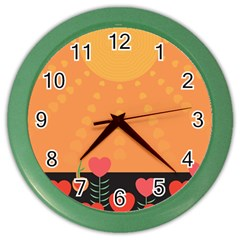 Love Heart Valentine Sun Flowers Color Wall Clocks by Nexatart