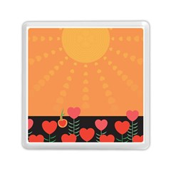 Love Heart Valentine Sun Flowers Memory Card Reader (square)  by Nexatart