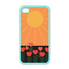 Love Heart Valentine Sun Flowers Apple Iphone 4 Case (color)