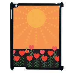 Love Heart Valentine Sun Flowers Apple Ipad 2 Case (black) by Nexatart