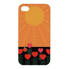 Love Heart Valentine Sun Flowers Apple Iphone 4/4s Hardshell Case by Nexatart