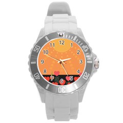 Love Heart Valentine Sun Flowers Round Plastic Sport Watch (l) by Nexatart