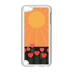 Love Heart Valentine Sun Flowers Apple Ipod Touch 5 Case (white)