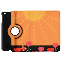 Love Heart Valentine Sun Flowers Apple Ipad Mini Flip 360 Case by Nexatart
