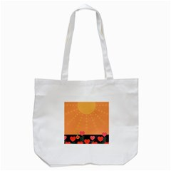 Love Heart Valentine Sun Flowers Tote Bag (white) by Nexatart