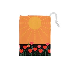 Love Heart Valentine Sun Flowers Drawstring Pouches (small)
