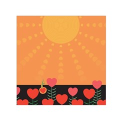 Love Heart Valentine Sun Flowers Small Satin Scarf (square) by Nexatart