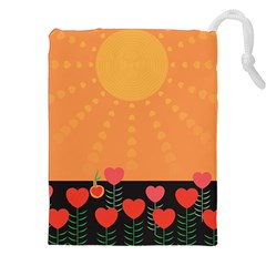 Love Heart Valentine Sun Flowers Drawstring Pouches (xxl) by Nexatart
