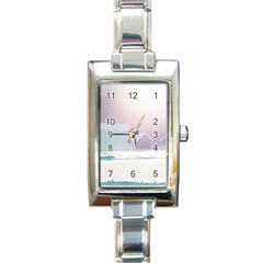 Winter Day Pink Mood Cottages Rectangle Italian Charm Watch
