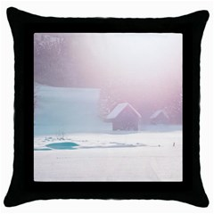 Winter Day Pink Mood Cottages Throw Pillow Case (black) by Nexatart