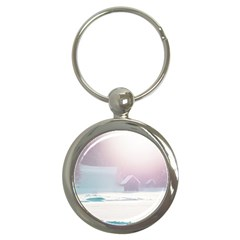 Winter Day Pink Mood Cottages Key Chains (round)  by Nexatart
