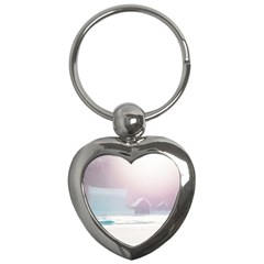 Winter Day Pink Mood Cottages Key Chains (heart)  by Nexatart