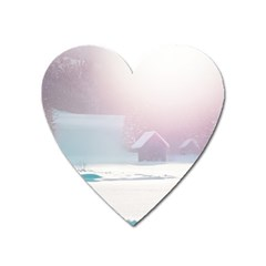 Winter Day Pink Mood Cottages Heart Magnet by Nexatart