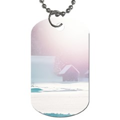 Winter Day Pink Mood Cottages Dog Tag (two Sides) by Nexatart
