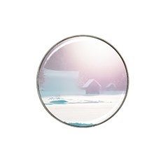 Winter Day Pink Mood Cottages Hat Clip Ball Marker (10 Pack) by Nexatart