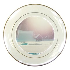 Winter Day Pink Mood Cottages Porcelain Plates by Nexatart